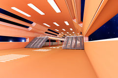 Space station Interior. 3D Architecture visualization Royalty Free Stock Image