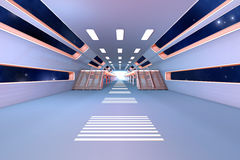Space station Interior. 3D Architecture visualization Stock Images