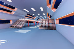 Space station Interior. 3D Architecture visualization Stock Photo
