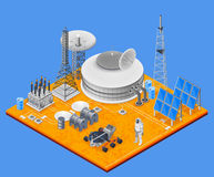 Space Station Isometric Concept. With solar energy symbols vector illustration Royalty Free Stock Image