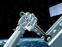 Space station maintenance. Illustration of a robot doing maintenance work in outer space Royalty Free Stock Photos