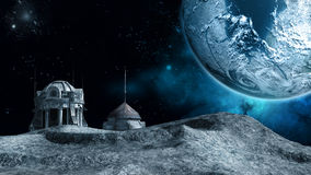 Space station on the moon Royalty Free Stock Photos
