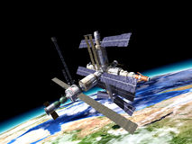 Space station in orbit around Earth. WIth large portion of the Earth at the bottom Stock Photos