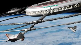 Space station in orbit of planet Earth with docked spaceship 3d science fiction background illustration, elements of this image. Orbital station concept