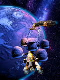 Orbital sation. Space station on orbit of a planet, while two spaceships are approaching Stock Image