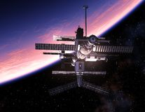 Space Station Orbiting Blue Planet. 3D Illustration Stock Photo
