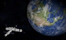 Space Station Orbiting Earth. 3D Illustration.  royalty free illustration