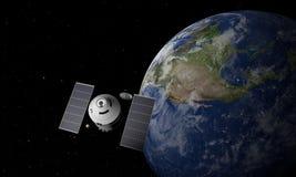 Space Station Orbiting Earth. 3D Illustration.  stock illustration