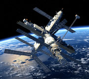 Space Station Orbiting Earth. 3D Scene Stock Photos