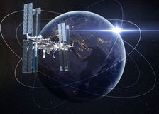 Space Station Orbiting Earth. Elements of this image furnished by NASA Stock Photo