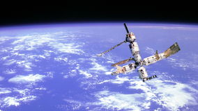 Space station orbiting Earth Stock Photography