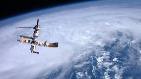 Space station orbiting Earth stock footage