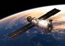 Space Station Orbiting Earth. Space Station Orbiting Planet Earth. 3D Illustration Stock Photography