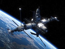 Space Station Orbiting Earth. Realistic 3D Scene Royalty Free Stock Images