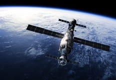 Space Station Orbiting Earth. Realistic 3D Scene stock illustration