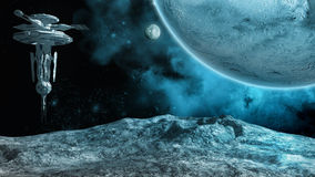 Space station. Outer space scenery with planet, moon and space station royalty free illustration