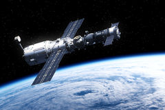 Space Station Over Earth. Realistic 3D Scene Royalty Free Stock Photography