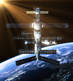 Space Station In The Rays Of Sun Royalty Free Stock Image