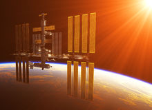 Space Station In The Rays Of Sun. 3D Illustration Royalty Free Stock Photos