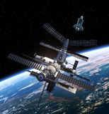 Space Station And Space Shuttle. Royalty Free Stock Images
