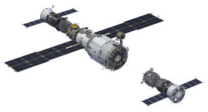 Space Station And Spacecraft Royalty Free Stock Photo