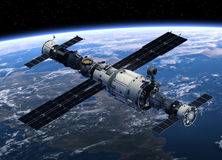 Space Station And Spacecrafts Orbiting Earth Stock Image
