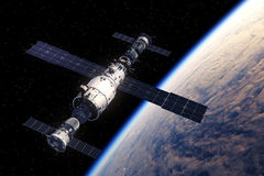 Space Station And Spaceships Orbiting Earth. 3D Scene Royalty Free Stock Image