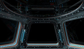 Space station window 3D rendering Stock Photo