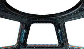 Space station window 3D rendering Stock Photos