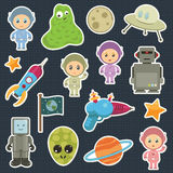 Space stickers. Collection of space stickers with robots aliens and astronauts Royalty Free Stock Images