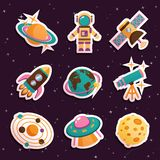Space stickers set Stock Images