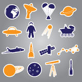 Space stickers set eps10 Royalty Free Stock Photos