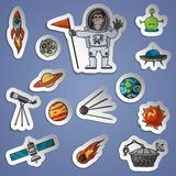 Space Stickers Set Royalty Free Stock Photo