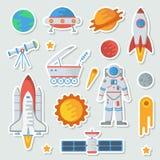 Space stiker kid set vector illustration