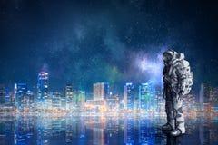 Space suit design. Mixed media Stock Photos