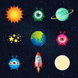 Space sun moon rocket and alien on galaxy background Stock Photo