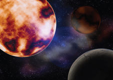 Space with the sun planets Stock Photos