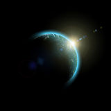 Space sunrise. Planet Earth. Abstract Space sunrise Stock Image