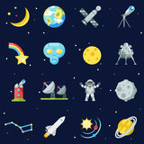 Space Symbol Innovation Technology Flat Design Icons Set Template Vector Illustration Royalty Free Stock Images