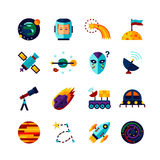 Space Symbols Flat Icons Set Royalty Free Stock Images