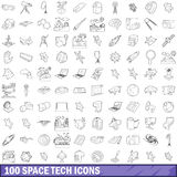 100 space tech icons set, outline style. 100 space tech icons set in outline style for any design vector illustration Royalty Free Stock Photos