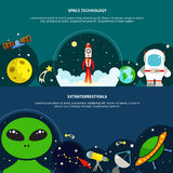 Space Technology Banners Set Royalty Free Stock Photography