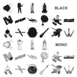 Space technology black icons in set collection for design.Spacecraft and equipment vector symbol stock web illustration. royalty free illustration