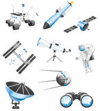 Space technology icons stock illustration