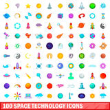 100 space technology icons set, cartoon style Stock Image