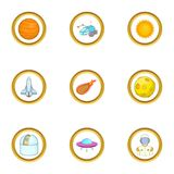 Space technology icons set, cartoon style Royalty Free Stock Image