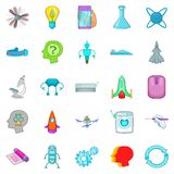 Space technology icons set, cartoon style Royalty Free Stock Photo