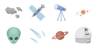 Space technology icons in set collection for design.Spacecraft and equipment vector symbol stock web illustration. Space technology icons in set collection for Stock Photos