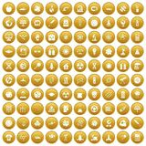 100 space technology icons set gold. 100 space technology icons set in gold circle isolated on white vector illustration Stock Illustration