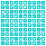 100 space technology icons set grunge blue. 100 space technology icons set in grunge style blue color isolated on white background vector illustration Royalty Free Illustration